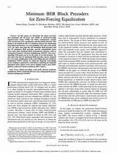 Pdf  Minimum Ber Block Precoders For Zero