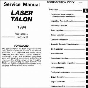 1994 Plymouth Laser And Eagle Talon Repair Shop Manual Original 2 Volume Set
