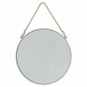 Miroir Rond à Suspendre : miroir suspendre en m tal rond 37cm gris ~ Teatrodelosmanantiales.com Idées de Décoration