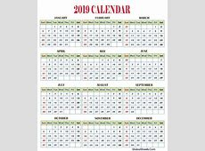 2019 Yearly Calendar Editable Fillable Template