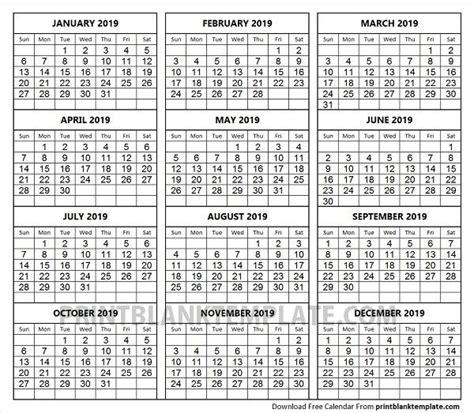 print months calendar template