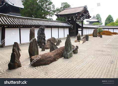 japanese zen garden rocks raked gravel stock photo