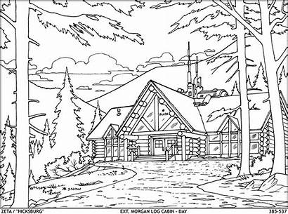 Cabin Woods Exterior Coloring Sketch Template Templates