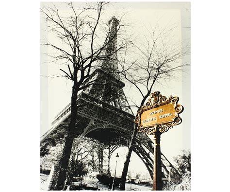 deco chambre romantique tableau toile vintage tour eiffel avenue panneau