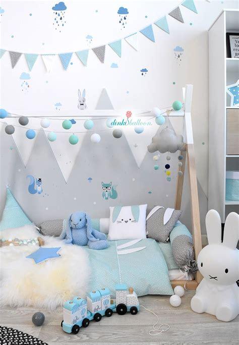 Exklusive Kinderzimmer Deko by Waldtiere In Blau Mint Grau Bei Fantasyroom