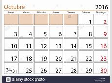 October month in a year 2016 calendar in spanish Octubre