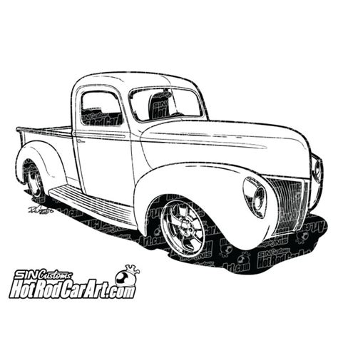 ford pickup hot rod car art