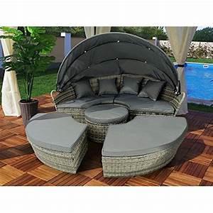 Garten Lounge Insel : gartenm bel polyrattan sonneninsel rattan lounge liege insel sonnenliege gartenliege 180cm grau ~ Frokenaadalensverden.com Haus und Dekorationen