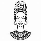 African Woman Turban Animation Beauty Portrait Illustration Drawing Ethnic Vector Preview Coloring sketch template