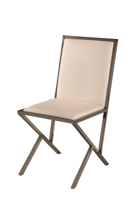 beige or brown upholstered dining chair with black nickel