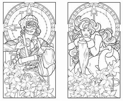 Coloring Pages Deco Adults Nouveau Printable Adult