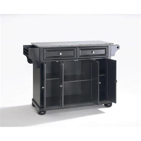 Alexandria Granite Top Kitchen Cart, Black *D   KF30003ABK