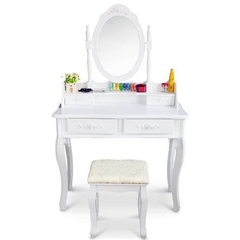 white vanity desk with drawers white vanity makeup dressing table set w stool 4 drawer