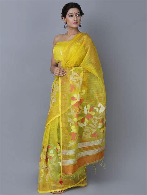 free weight sets for sale buy yellow jamdani handloom silk saree at theloom