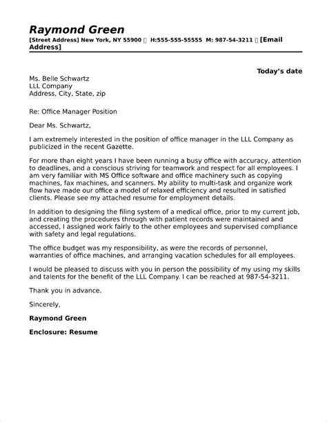Cover Letter For Office Staff by Office Manager Cover Letter Sle