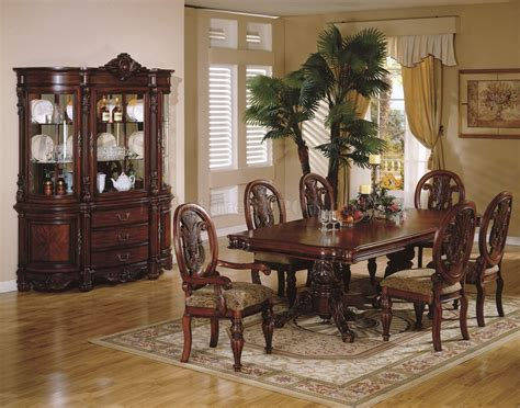Cheap Dining Room Sets For 4 cherry finish traditional dining room w hand carved details