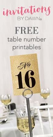 printable wedding table numbers invitations  dawn