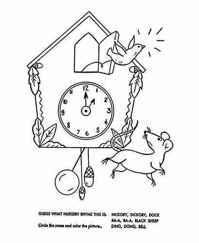 Nursery Coloring Dickory Hickory Dock Rhymes Pages