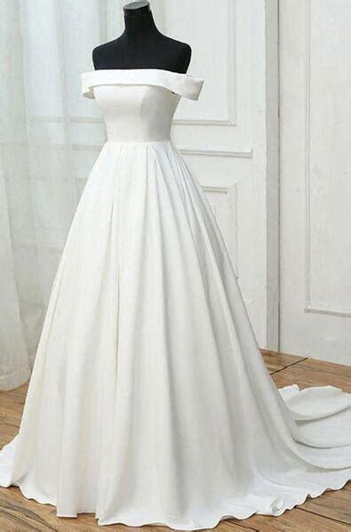simple white wedding dresssatin  shoulder  prom