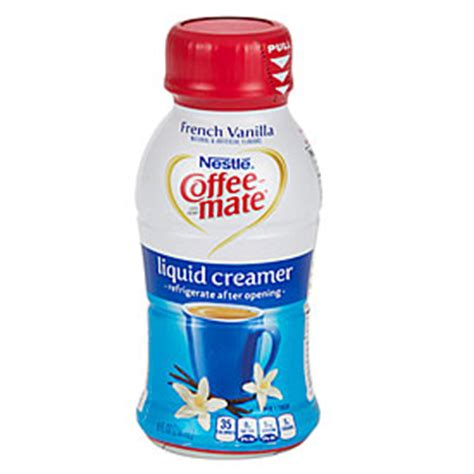 This product also contains the trans fat oil, sodium caseinate, and dipotassium phosphate. Nestle® Coffee-mate® French Vanilla Liquid Coffee Creamer   Big Lots