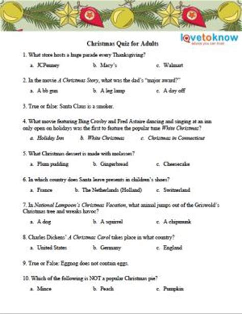 Free Christmas Quizzes Lovetoknow