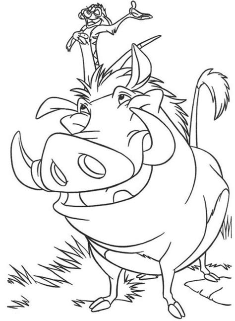 Kleurplaat Pumba by Timon And Pumbaa The King Coloring Page Crafties