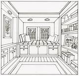 Perspective Point Drawing Bedroom Window Seat Interior Living Sketches Visit Decorating sketch template