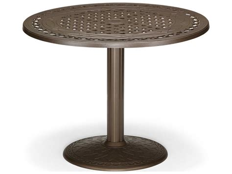 table with umbrella hole telescope casual cast aluminum 48 round dining table with
