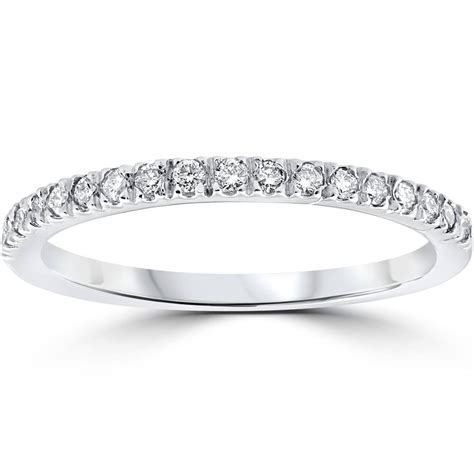 1 4 ct pave diamond wedding pave ring womens stackable band 14k white gold ebay