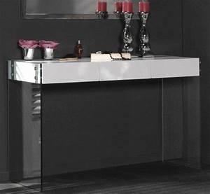 Console Avec Tiroir : console laquee blanc brillant white avec pietement en verre 3 tiroirs ~ Teatrodelosmanantiales.com Idées de Décoration