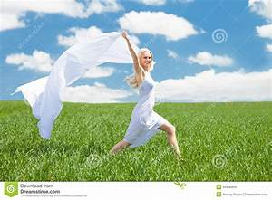Woman Holding Scarf Running In Field Stock Images - Image ...