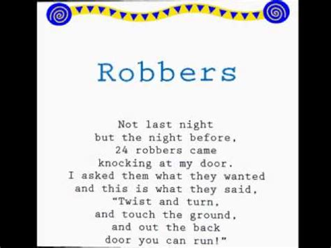 jump rope songs robbers read along jump rope songs kids songs learning to read youtube