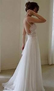 sexy backless white lace long chiffon prom dress beach With long white lace wedding dress