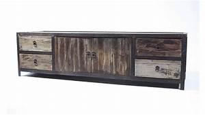 meuble tv koroco 4 tiroirs 2 portes style industriel en With tapis peau de vache avec canapé d angle pied bois