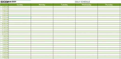 excel template daily schedule template excelmadeeasy