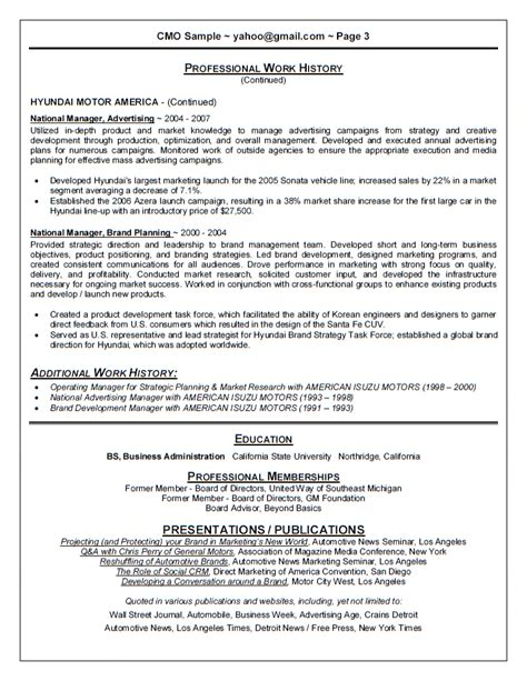 Best Cmo Resumes by Sle Cover Letter For Chief Marketing Officer Cover Letter Templates