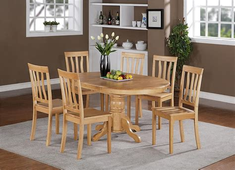 light wood kitchen table 5pc oval dinette kitchen dining set table with 4 wood seat 7019