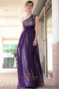 Purple Chiffon Prom Dresses Beading One Shoulder Long ...