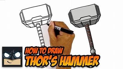 Hammer Thor Mjolnir Draw Step Drawing Shield