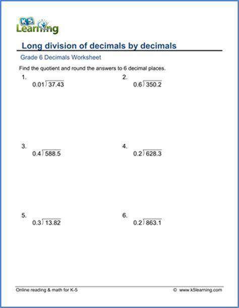 grade 6 math worksheet decimals division of