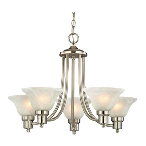 Glass Shades For Chandelier by Satin Nickel Chandelier With Alabaster Glass Shades 1650