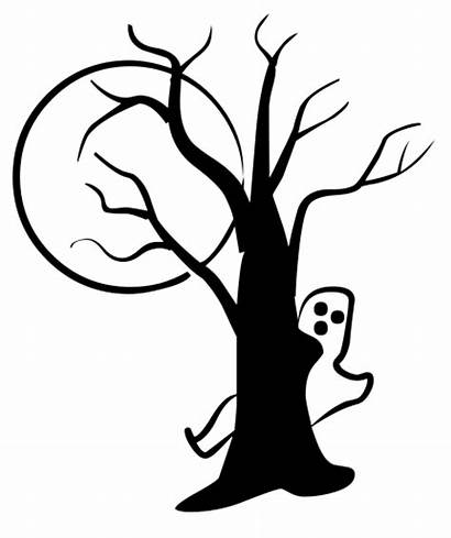Halloween Tree Silhouette Ghost Moon Clipart Transparent