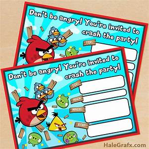 Free printable angry birds birthday invitation for Angry birds birthday party invitation template free