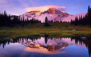 Mount, Rainier, Lake, National, Park, Washington, Us, State