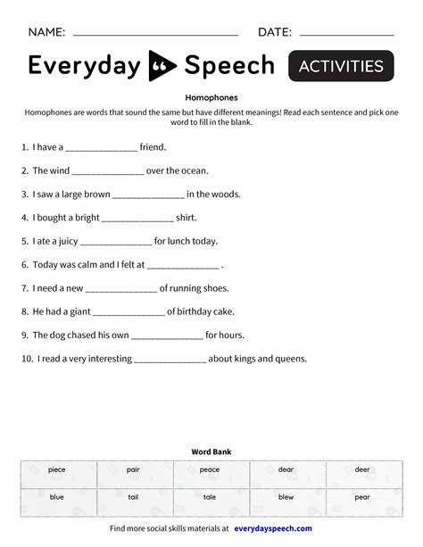 homophones everyday speech everyday speech
