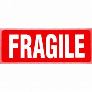 Fragile labels (red label white writing) - on a roll in 1000s