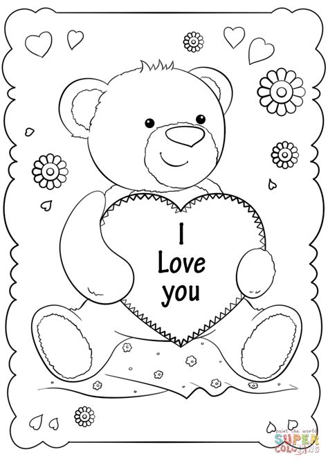 love  card coloring page  printable coloring