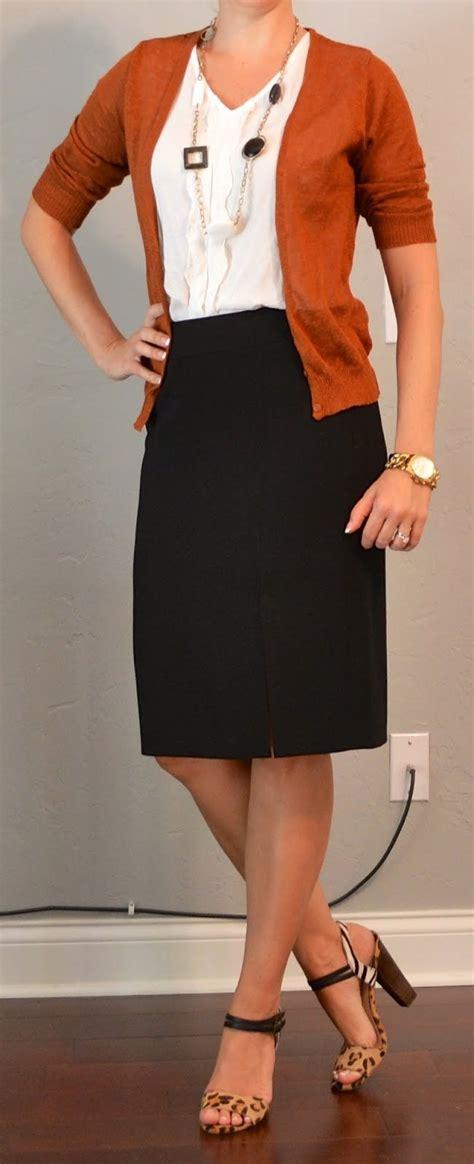 rust cardigan black pencil skirt white ruffle blouse
