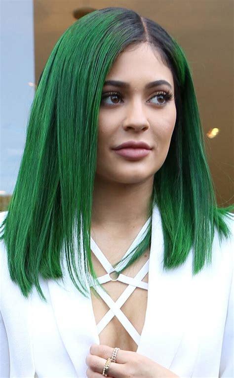 Kylie Jenner Unveils Dark Green Hair For Her Lip Kit