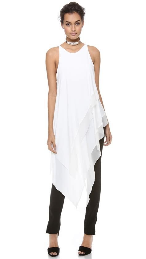 lyst donna karan sleeveless asymmetric top  white